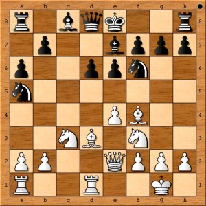 Susan Polgar has a rook in the same file as her opponent's queen and a queen in the same file as her opponent's king. Black needs to be very careful to avoid white's tactics.