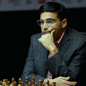Viswanathan Anand is a different chess player when facing Magnus Carlsen. (photo from http://www.sochi2014.fide.com/)