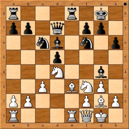 The position after Magnus Carlsen plays 15. Qf1.