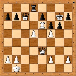 Position after Anand plays 27. Qe3.