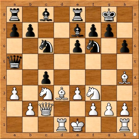 The position after Magnus Carlsen plays 13... dxc4.