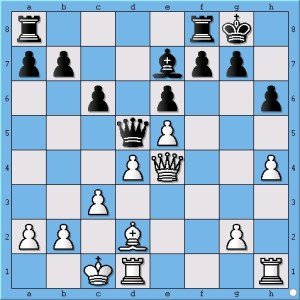 This is where Viswanathan Anand could have played for a win rather than trading down to a draw. (see move 18)