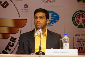 An always classy Anand appears solemn at the post game press conference.(Photo courtesy of http://susanpolgar.blogspot.com/)