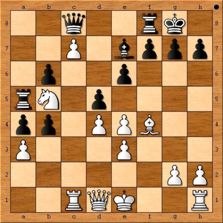 Position after Viswanathan Anand plays 20. fxe4.