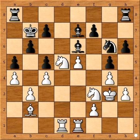 Position after Viswanathan Anand plays 20... Be7.