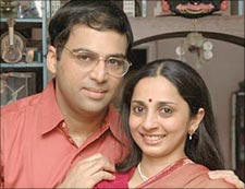 Viswanathan Anand will likely celebrate another World Championship with his beautiful wife Aruna.