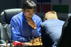 A photo of Anand and Carlsen in round 2(photo from http://www.sochi2014.fide.com/.)