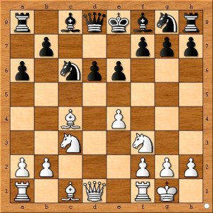 I don't like the idea of black playing another slow pawn move here. A better plan is to develop pieces in a way similar to this: 7...Qc7 8.Qe2 Bc5 9.Rd1 Nge7
