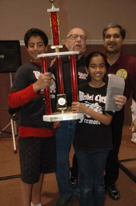 A happy Alan Kirshner standing with Salman Azhar at the 36th Calchess Scholastic State Championship.