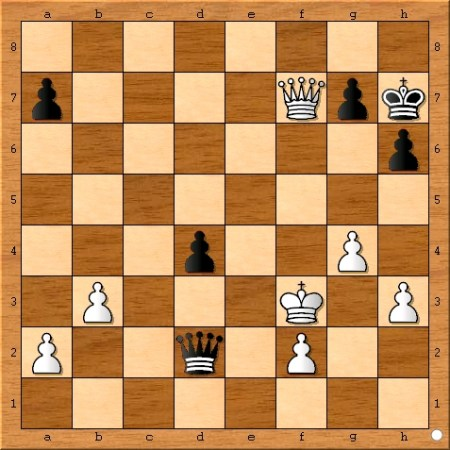 The position after Viswanathan Anand plays 41... Qd2.