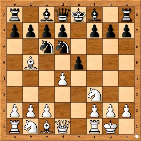 The position after Viswanathan Anand plays 5... Nd6.