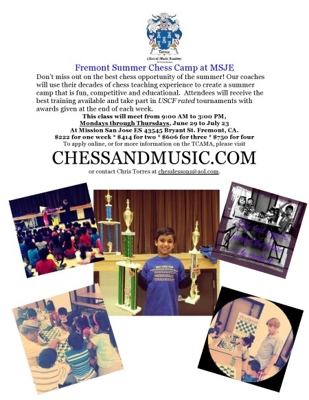 Sign up today for the Fremont Summer Chess Camp 2015 http://www.chessandmusic.com/onlineregistration/