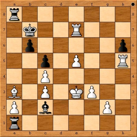 The final position from game 6 of the 2014 World Chess Championship Match between Magnus Carlsen and Viswanathan Anand.