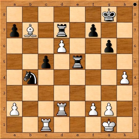 The position after Viswanathan Anand plays 28. Bxb7.