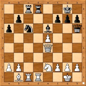 Now all the black pieces are in the game. However, this underestimates the strength of Susan Polgar's plan. A better idea would have been: ( 21...g6 22.Nf4 ( 22.f4 Bg4 23.Bd3 Qh4 ) Rxd1+ 23.Rxd1 Bg4 )