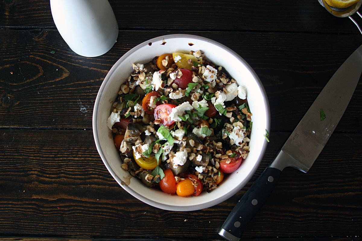 Grilled Eggplant Cherry Tomato Farro Salad with Goat Cheese and Toasted Hazelnuts