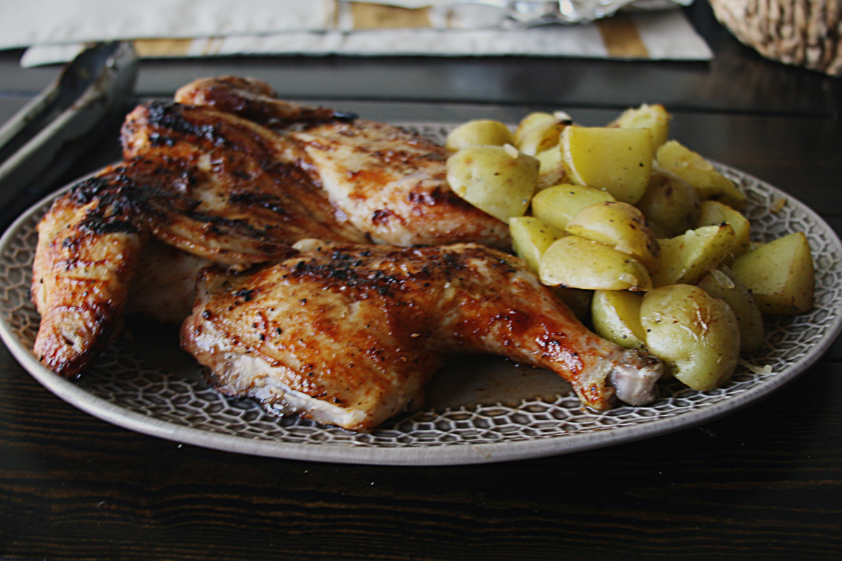 Brined Brick Chicken with Yukon Gold Potatoes