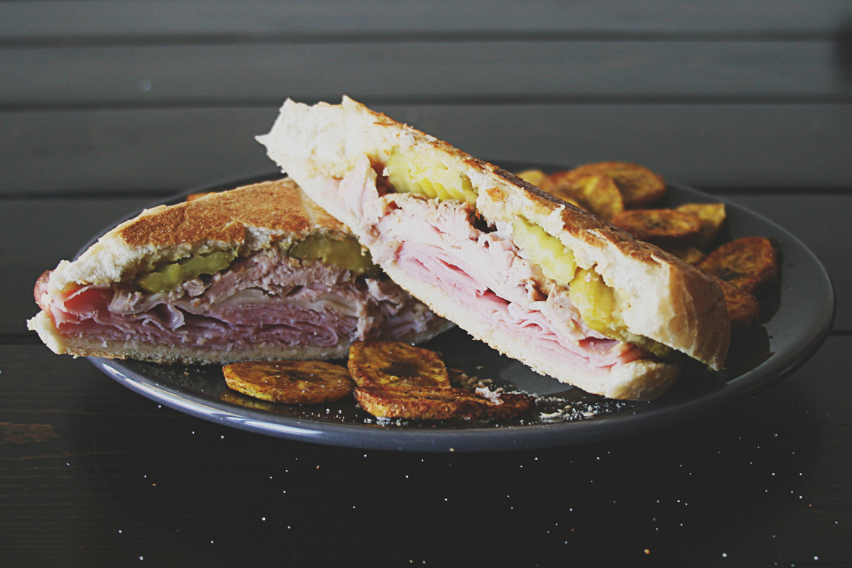 Cuban Sandwich with Baked Plantain Chips and Black Bean Pumpkin Hummus