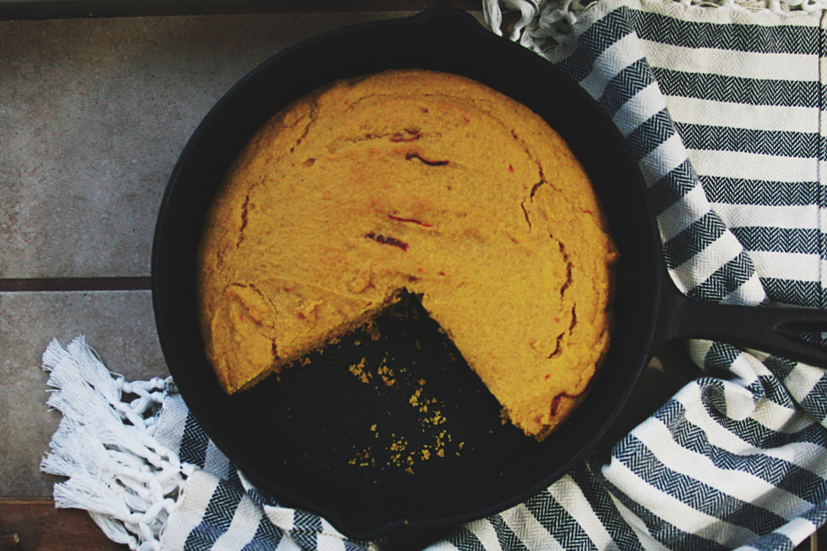 Pumpkin Honey Cornbread with Guajillo Chiles and Bacon