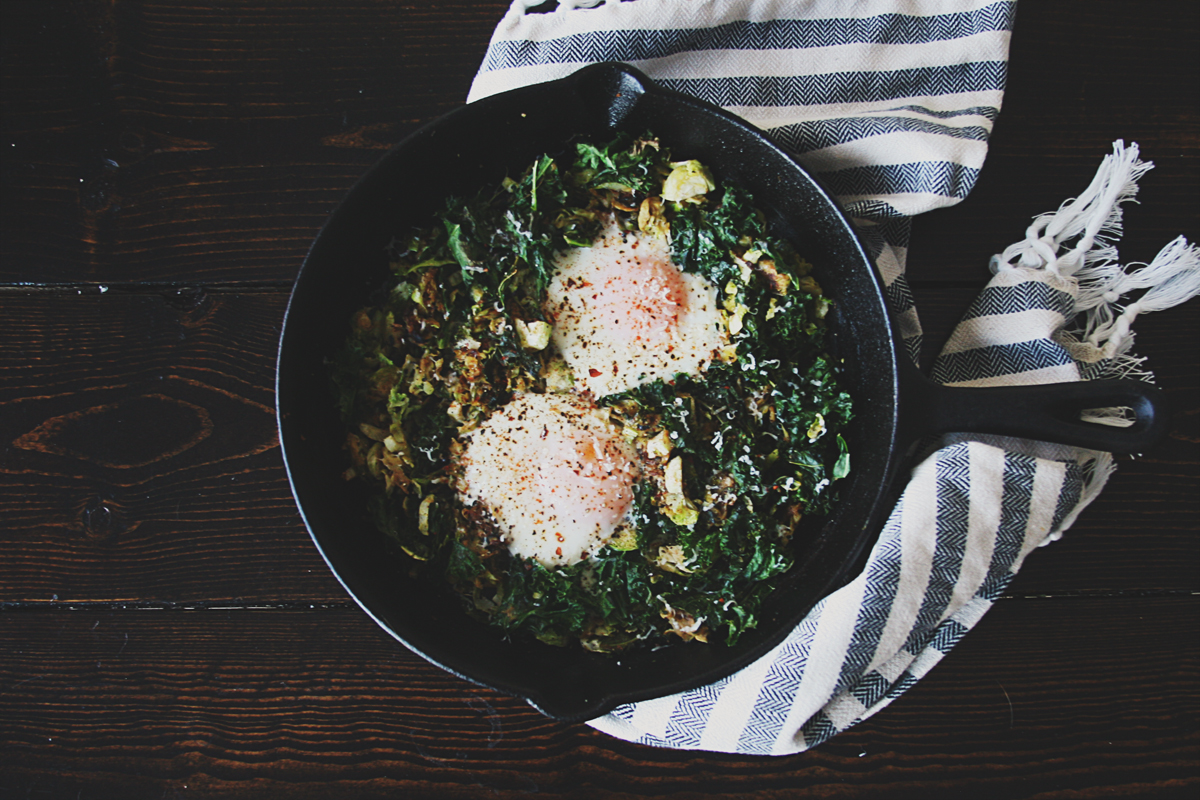 Kale Brussels Sprouts Breakfast Skillet