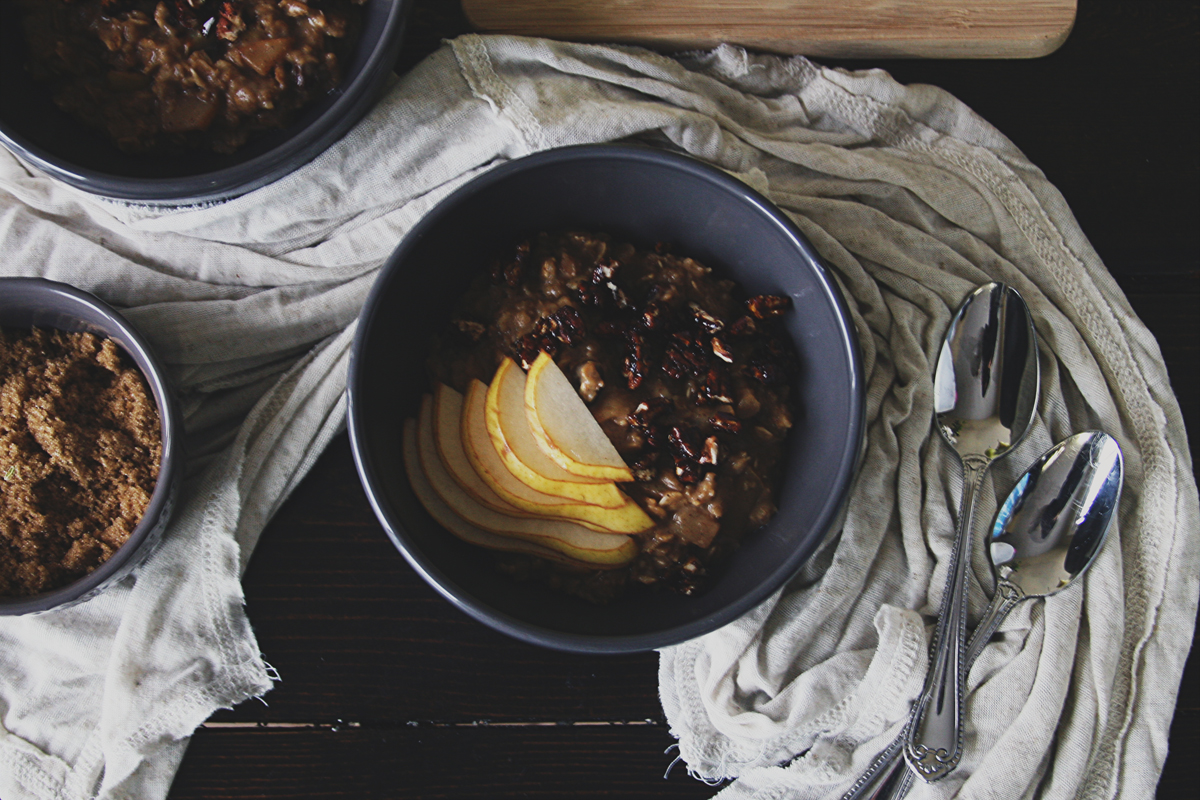 Spiced Pear Oatmeal with Sea Salt Molasses Pecans