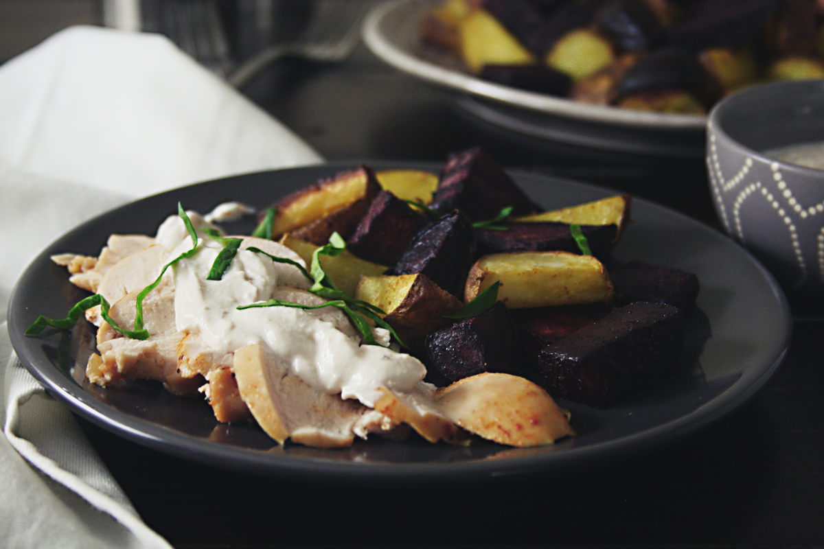 Brined Chicken with Roasted Beets and Potatoes and Garlic Tahini Sauce