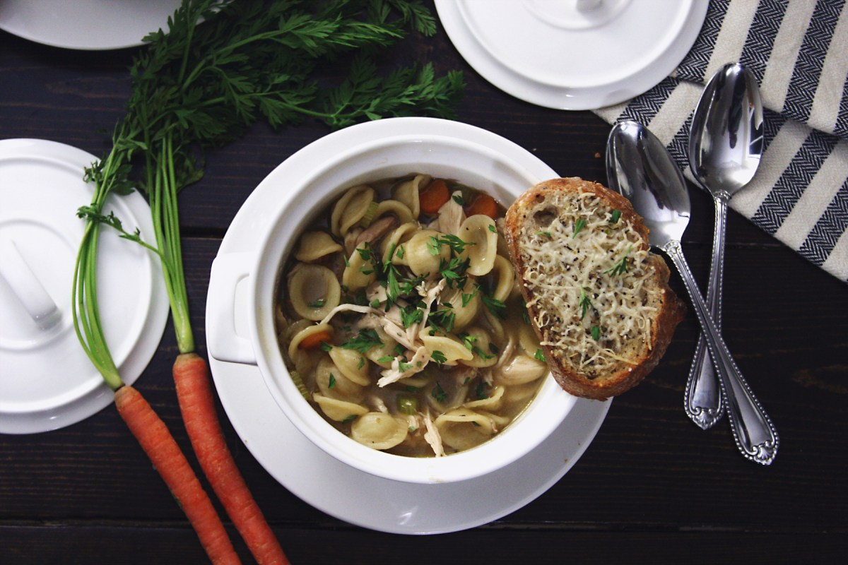 Chicken Noodle Soup with Parmesan Toast