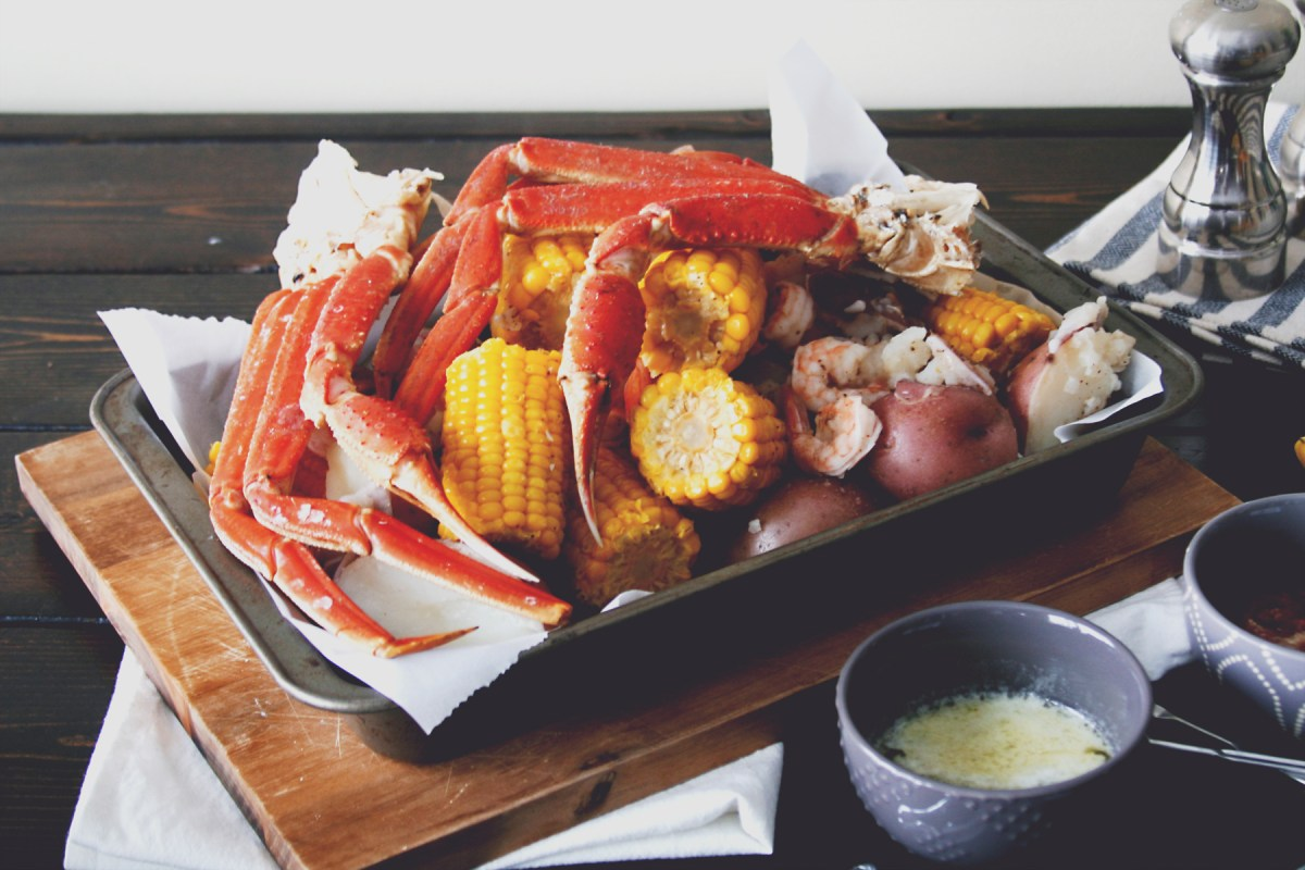 Snow Crab Boil with Corn and Potatoes