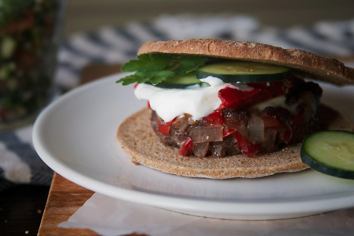 Mediterranean Venison Pita Sandwiches with Tabouli