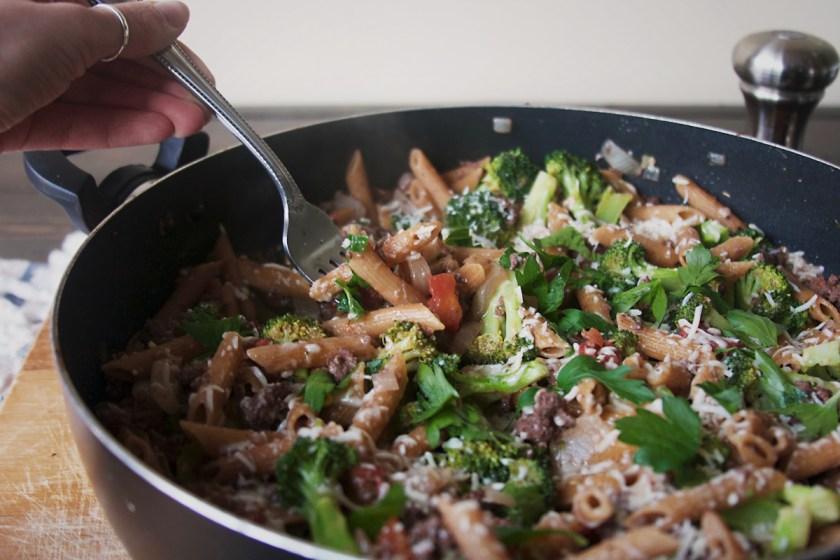 one-pan-sausage-penne-broccoli-3