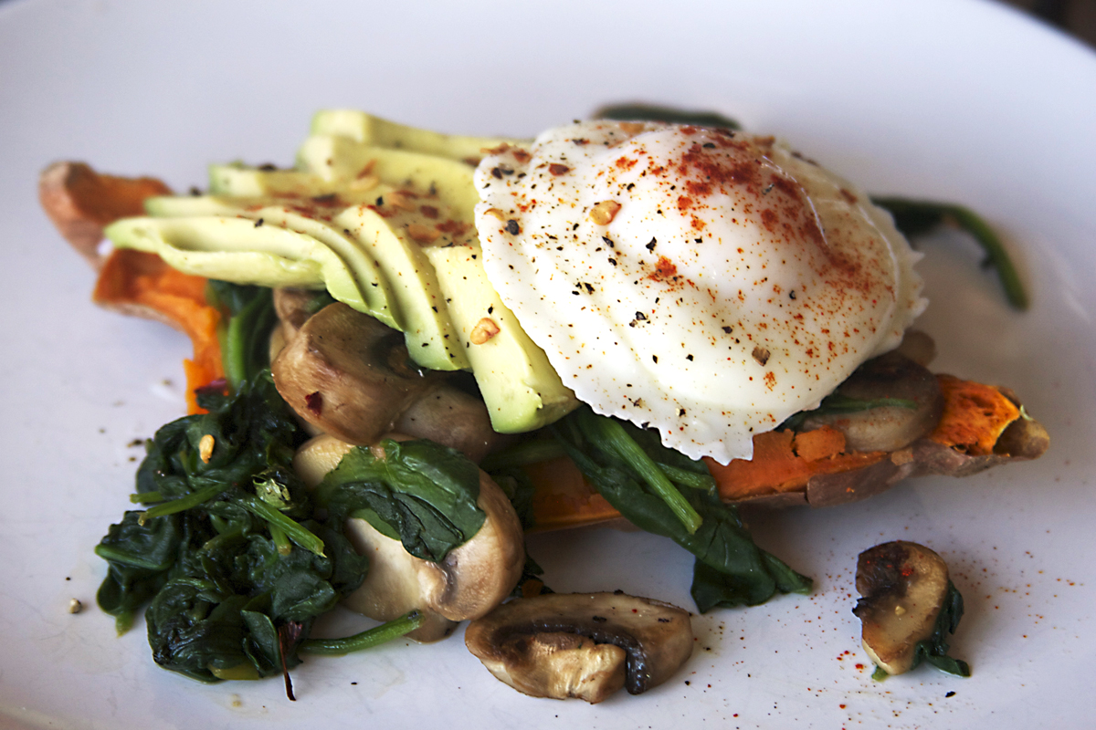 10 Minute Sweet Potato Spinach and Mushroom Breakfast