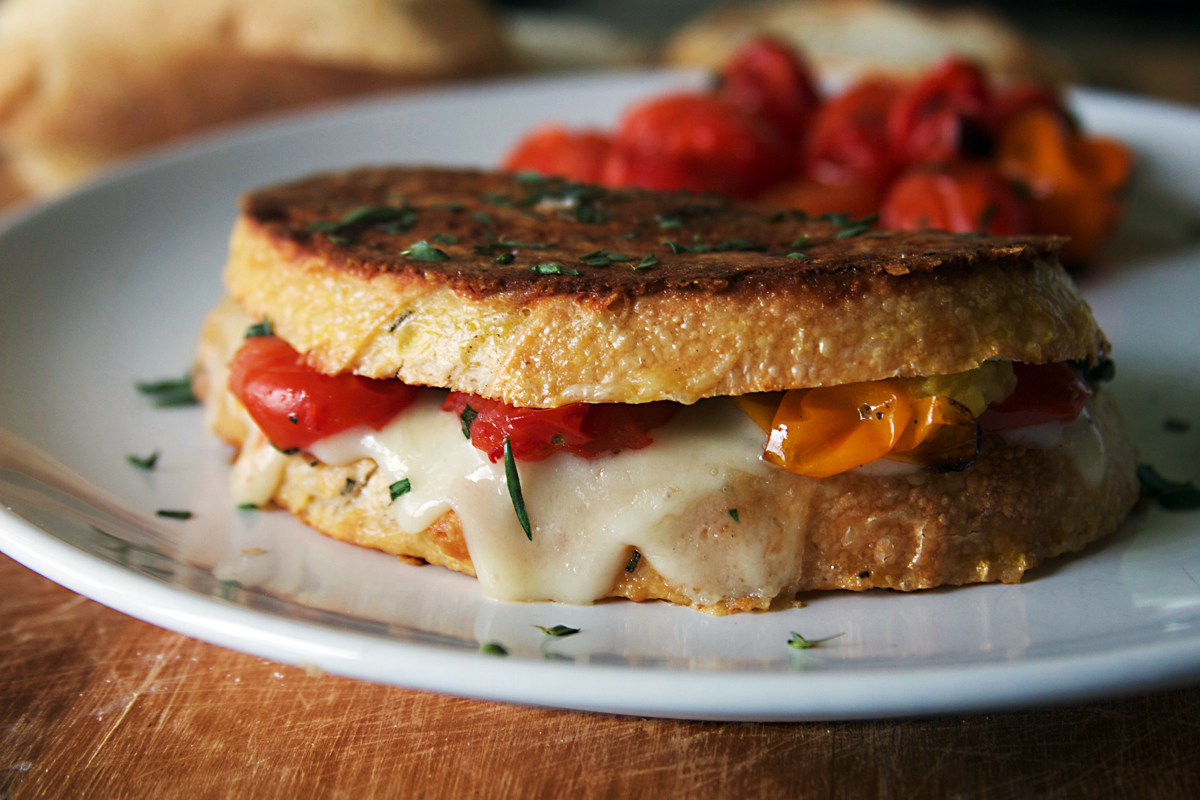 Parmesan Crusted French Toast Grilled Cheese Sandwich with Blistered Tomatoes