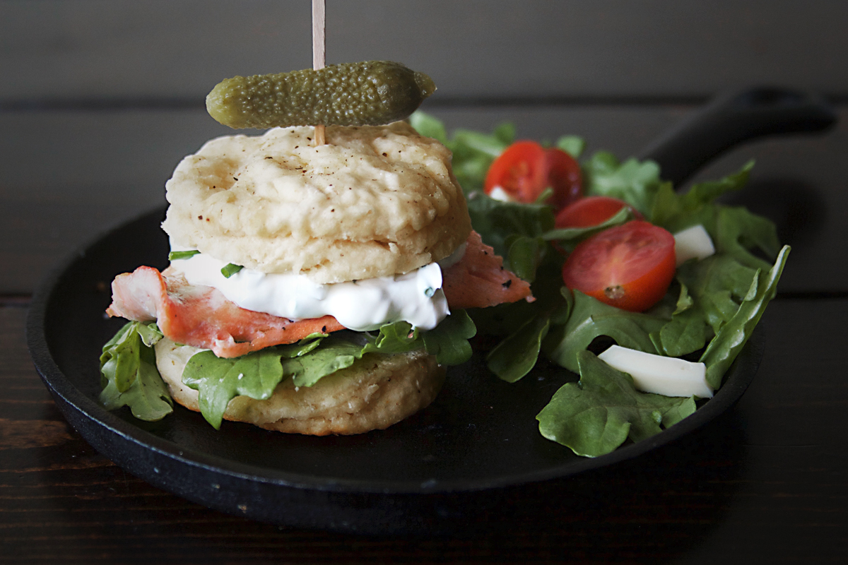 Cracked Black Pepper Biscuits with Salmon