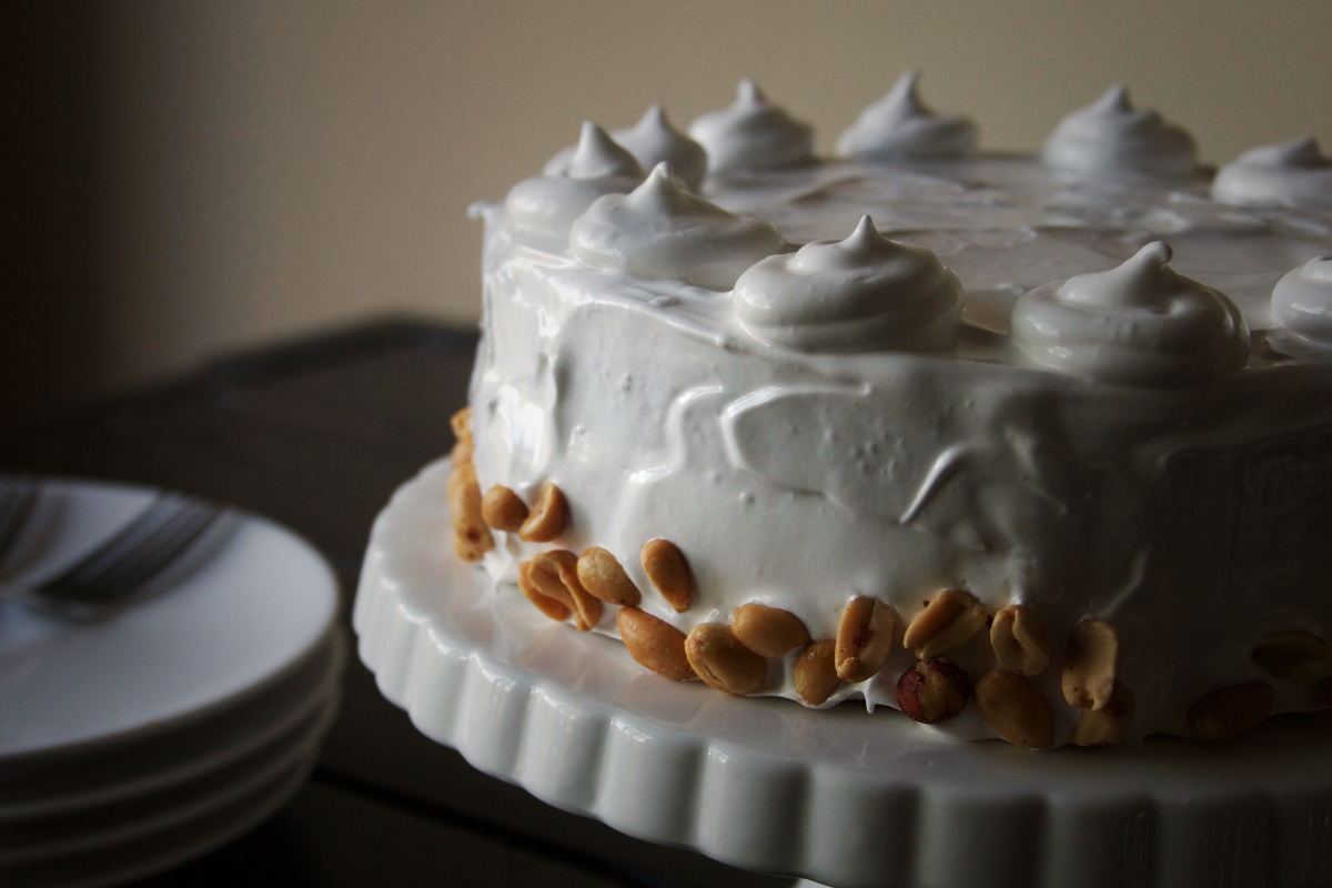Peanut Butter Cake with Marshmallow Frosting