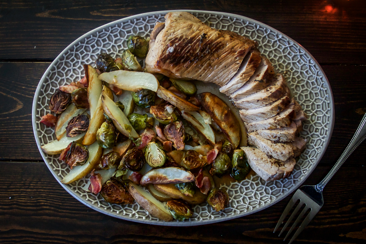 One Pan Brussels Sprouts and Potatoes with Cider Marinated Pork Tenderloin