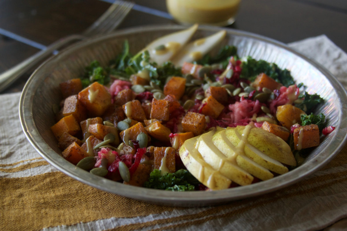 Roasted Butternut Squash Salad with Beet and Apple Relish