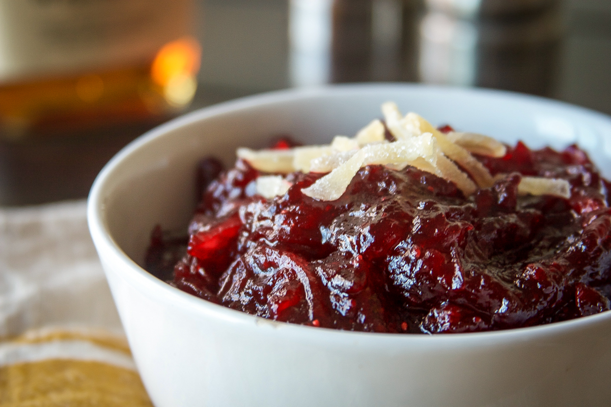 Ginger Bourbon Cranberry Sauce