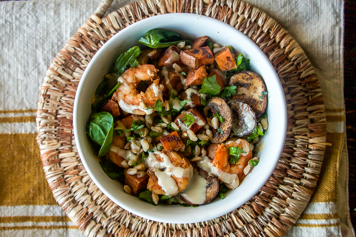 Sweet Potato Farro Salad with Shrimp