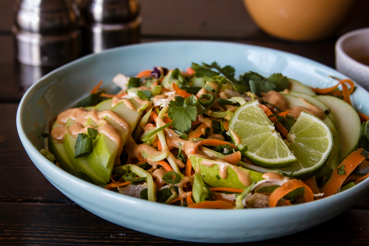 Thai Chicken Salad with Shaved Carrots and Peanut Dressing