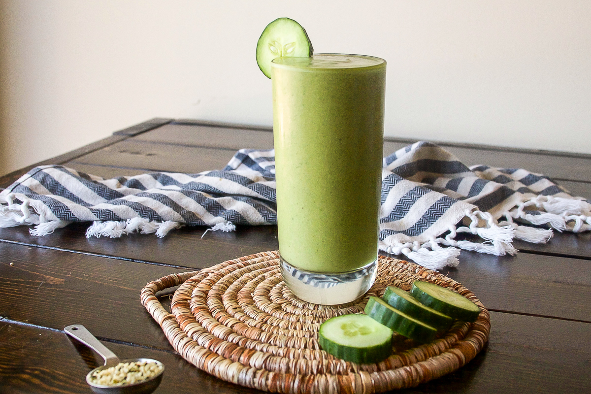 Cucumber Melon Smoothie with Ginger and Hemp Seeds