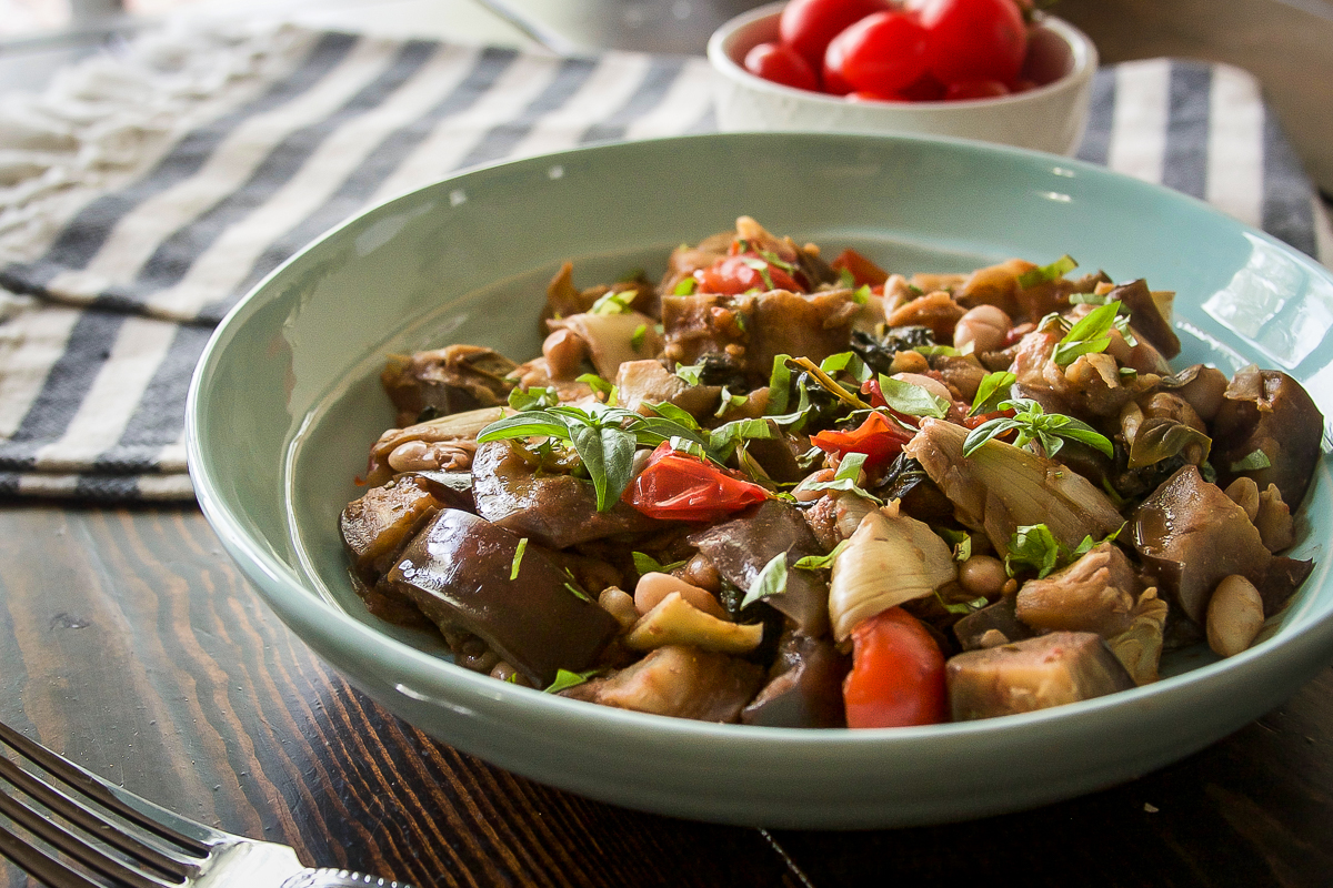 Eggplant Artichoke Skillet with White Beans