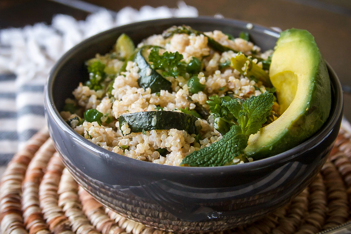 Lemony Quinoa Salad with Veggies and Walnut Pesto