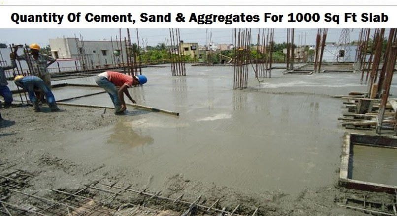 Quantity Of Cement, Sand, & Aggregates For 1000 sq ft Slab
