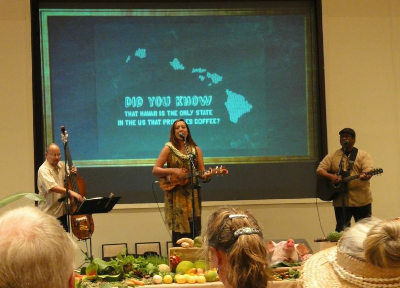 Grammy award-nominee and Molokai native Raiatea Helm entertained the crowd with traditional Hawaiian music at Roast and Roots: A Locally Grown Experience.