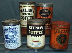 Various vintage coffee tins