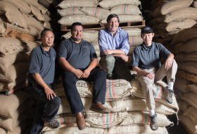 The Peerless roasting team: Victor Chiang, Ramiro Hurtado, George Vukasin Jr. and Boone Leong (left to right)