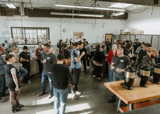 Inside Buckman Coffee Factory during the fourth annual Cascadia Roaster's Competition. Photo by Max Mckenzie.