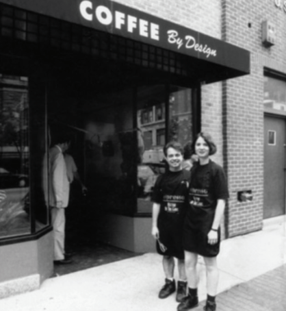 Mary Allen Lindemann and Alan Spear at the grand opening of Coffee By Design, July 1994. Photo courtesy of Coffee By Design.