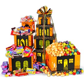 Haunted House Halloween Gift Tower from GourmetGiftBaskets.com