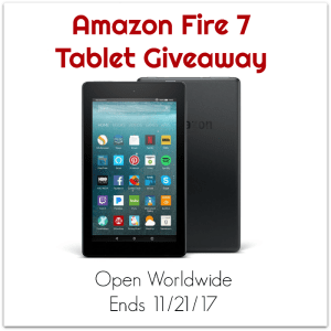 Amazon Fire 7 Tablet Giveaway {WW, 11/21/17}
